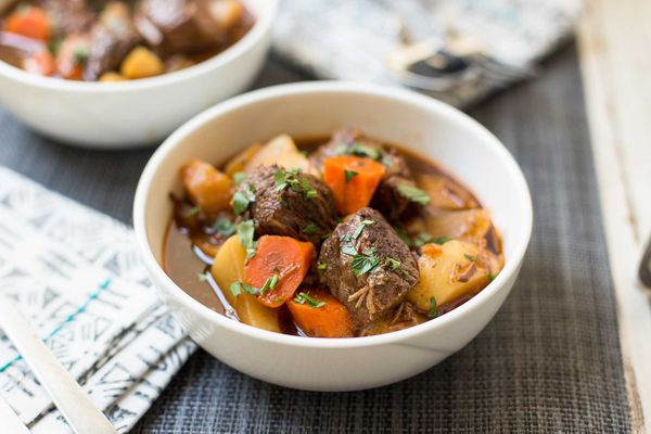 Pressure cooker Beef Stew made in the instant pot and served in bowls