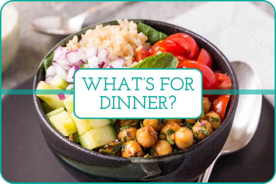 """What's for Dinner"" written over Mediterranean Chickpea Bowls"