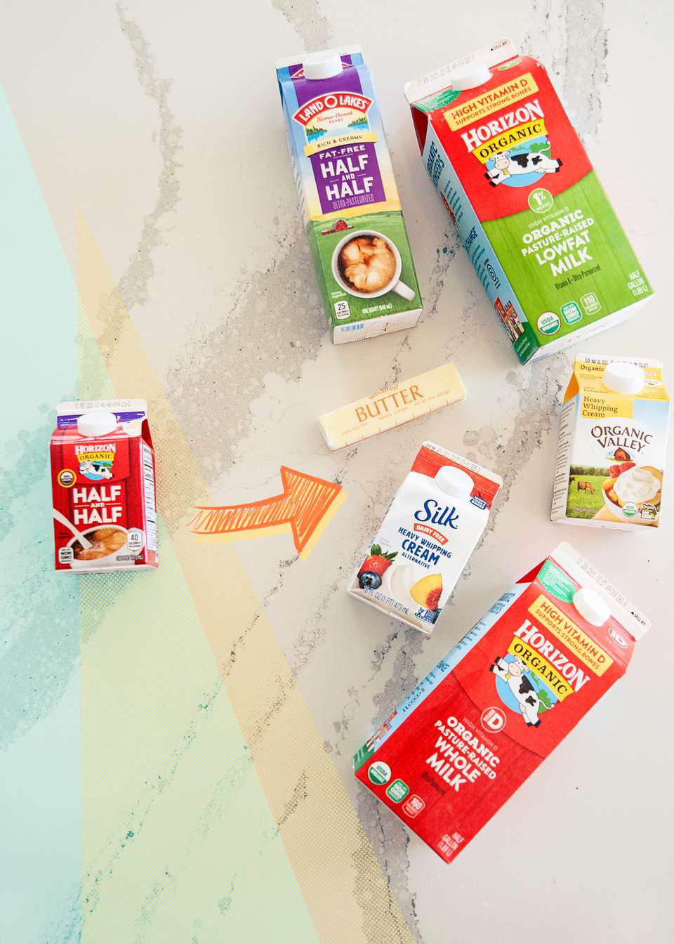 Variety of cartons showing half and half substitutes.