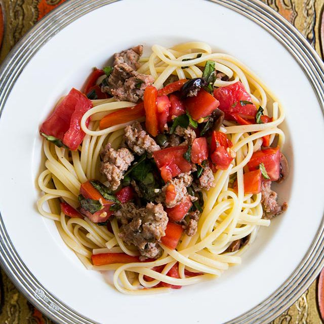Pasta with Italian Sausage, Tomatoes, Roasted Peppers, and Basil