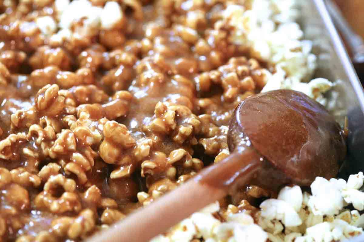 spread caramel over popcorn