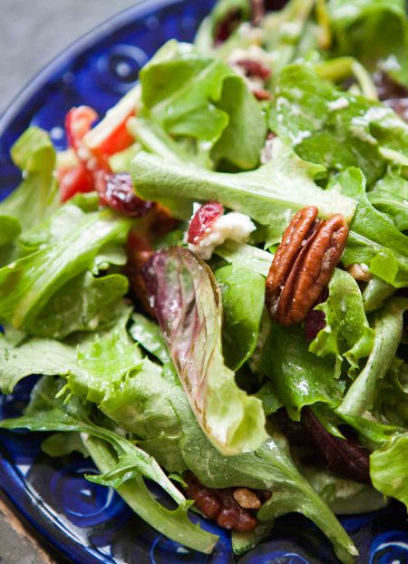 Mixed Green Salad With Pecans Goat Cheese And Honey Mustard Vinaigrette Recipe