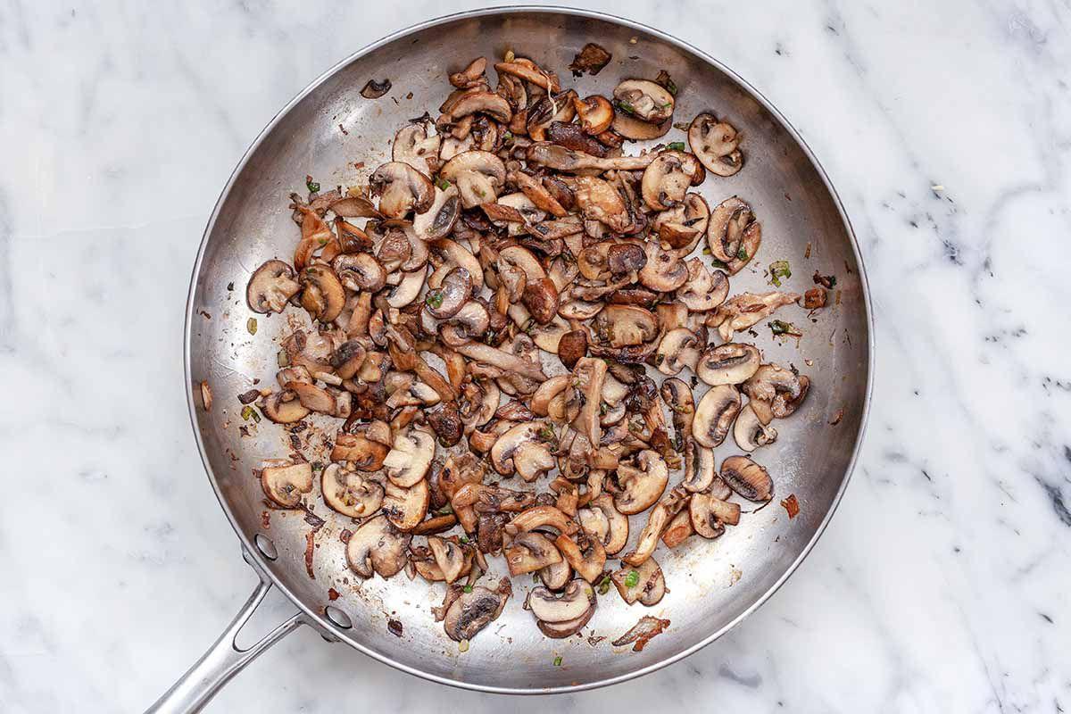 Vegetarian Quesadilla Recipe - silver pan with sauteed mushrooms