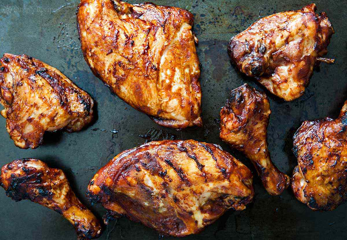 Grilled BBQ Chicken off the grill ready to serve