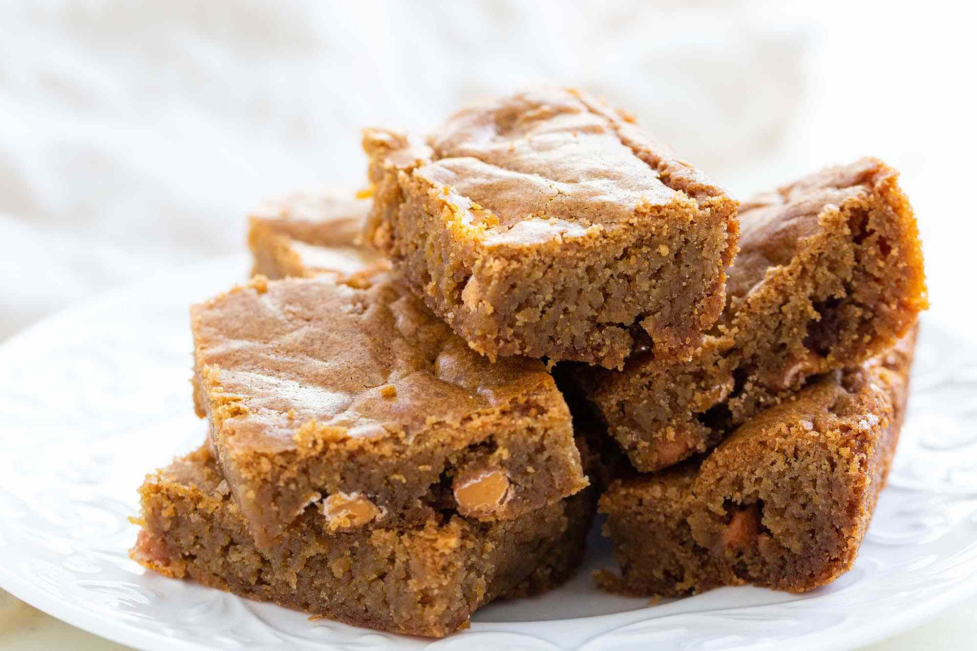 Homemade blondie bars on a plate