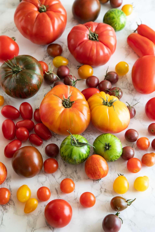 Varieties of tomatoes cherry grape heirloom