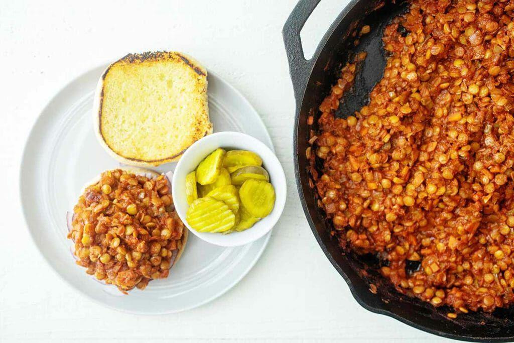 Cooking lentils for vegan sloppy joes