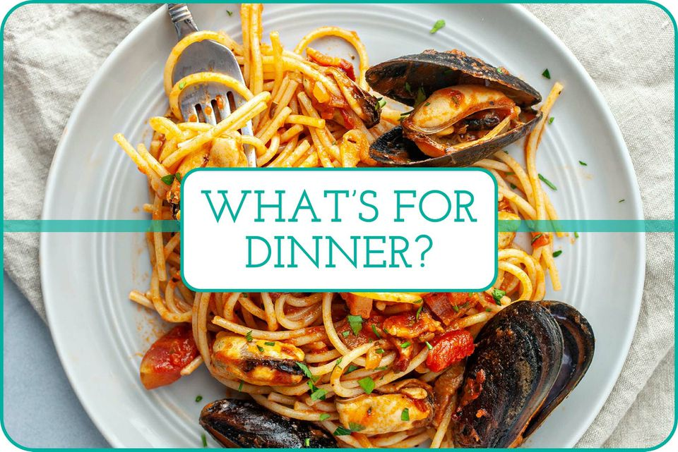 """""""What's For Dinner?"""" with a plate of Steamed Mussels in Tomato Sauce on a plate behind the caption."""