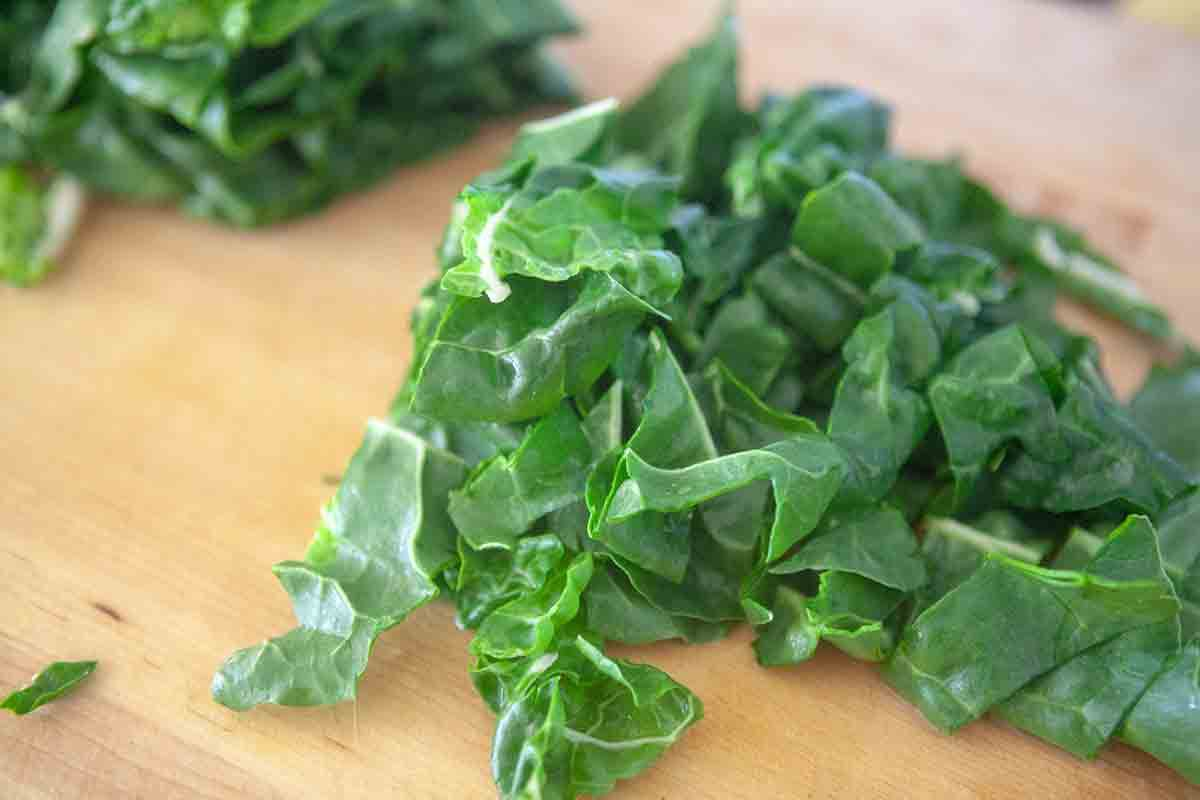 slice chard leaves into 1 inch pieces