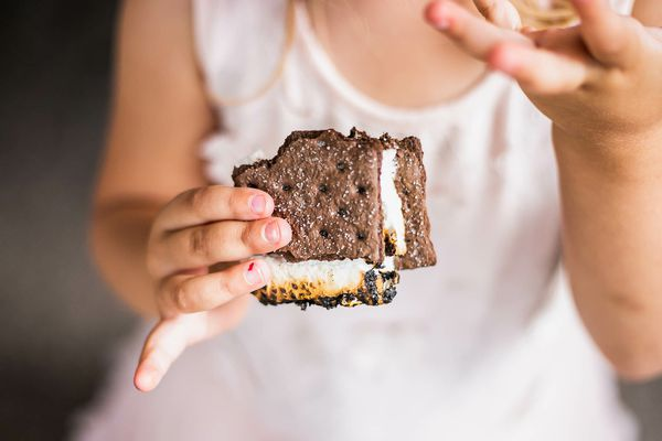 A child holds a chocolate graham cracker smore during a backyard Smores Party.