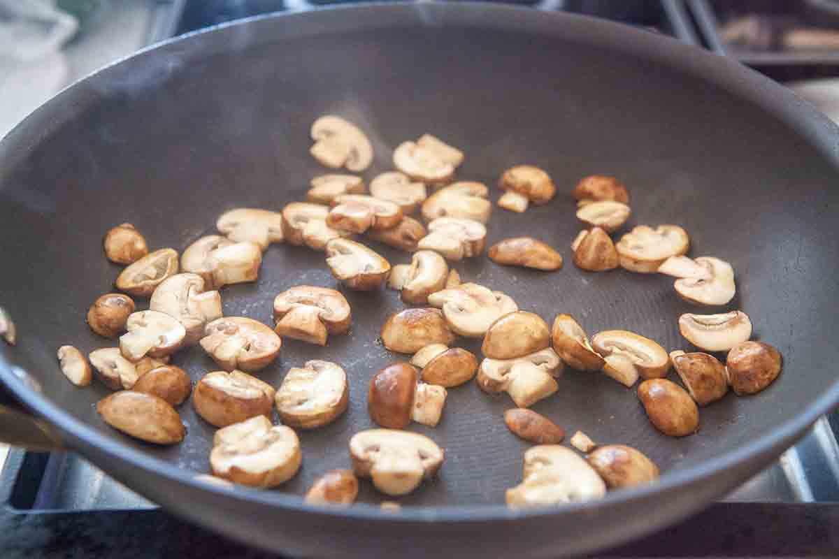 dry saute mushrooms for panade bread soup