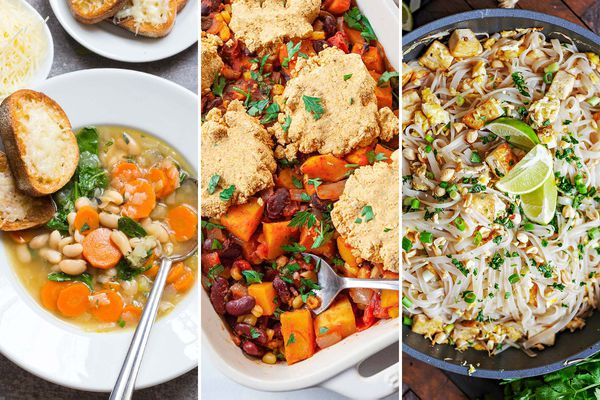 Three images set side by side. On the left is Easy Tuscan Soup, in the center is Three Sisters Casserole, and on the left is Vegetarian Pad Thai with Tofu.
