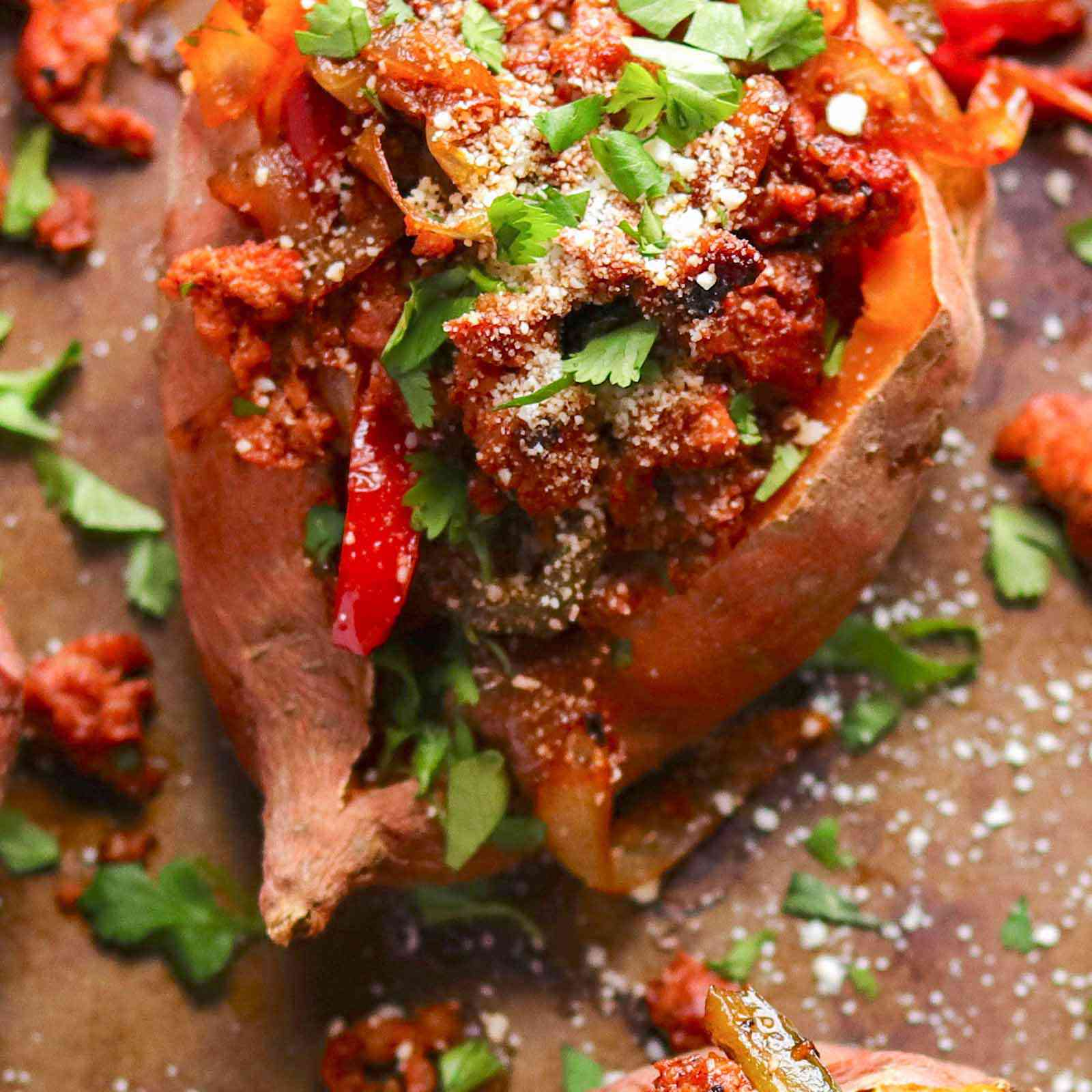 Roasted Sweet Potatoes with Chorizo
