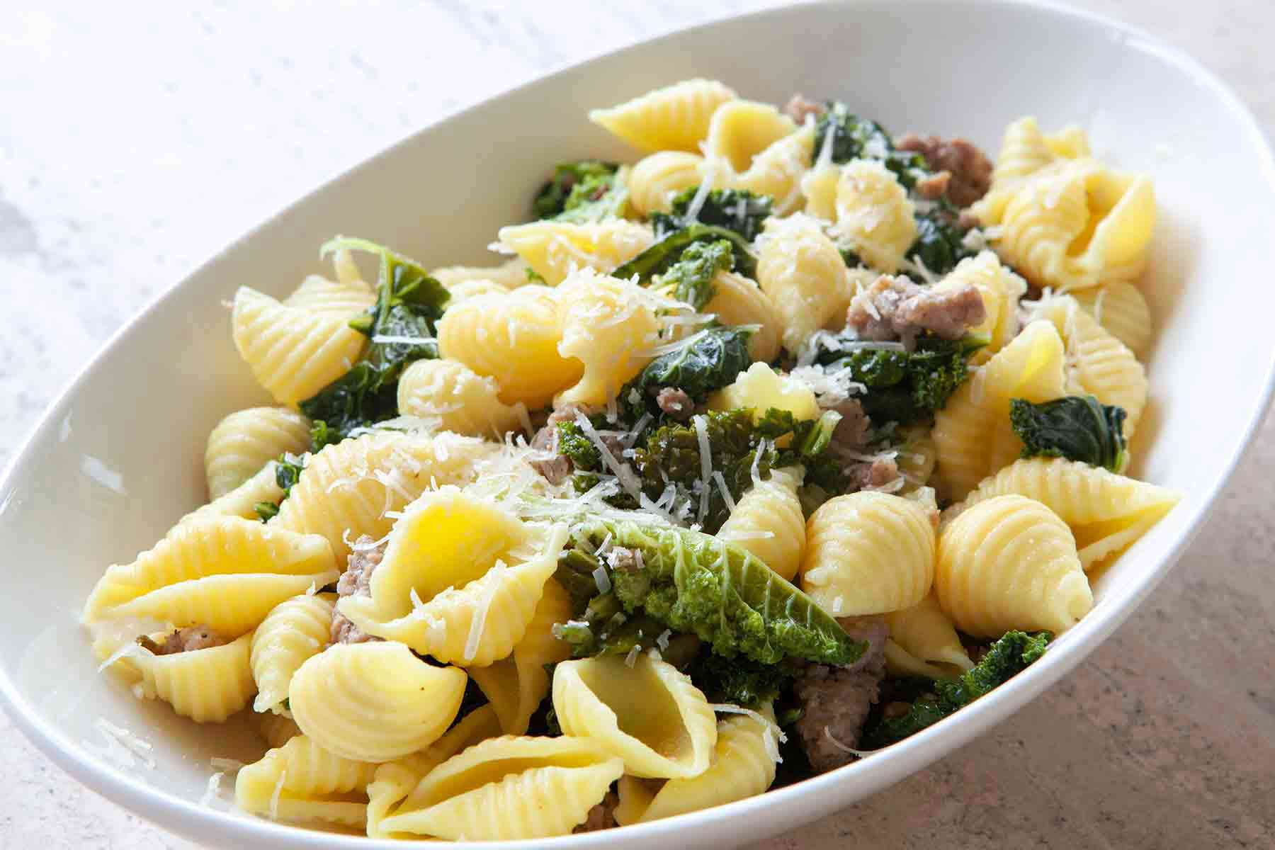 Shell Pasta with Sausage and Greens