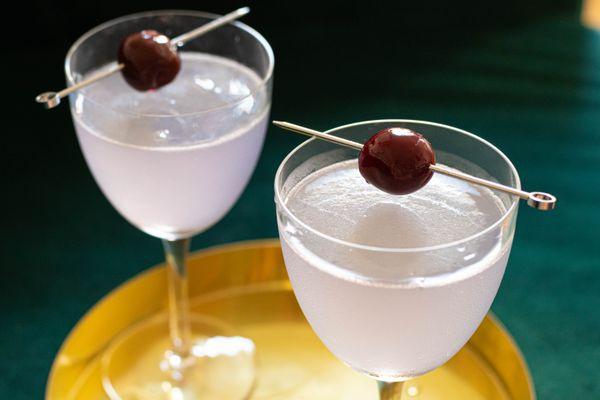 Aviation cocktails made with Crème de Violette and maraschino liqueur