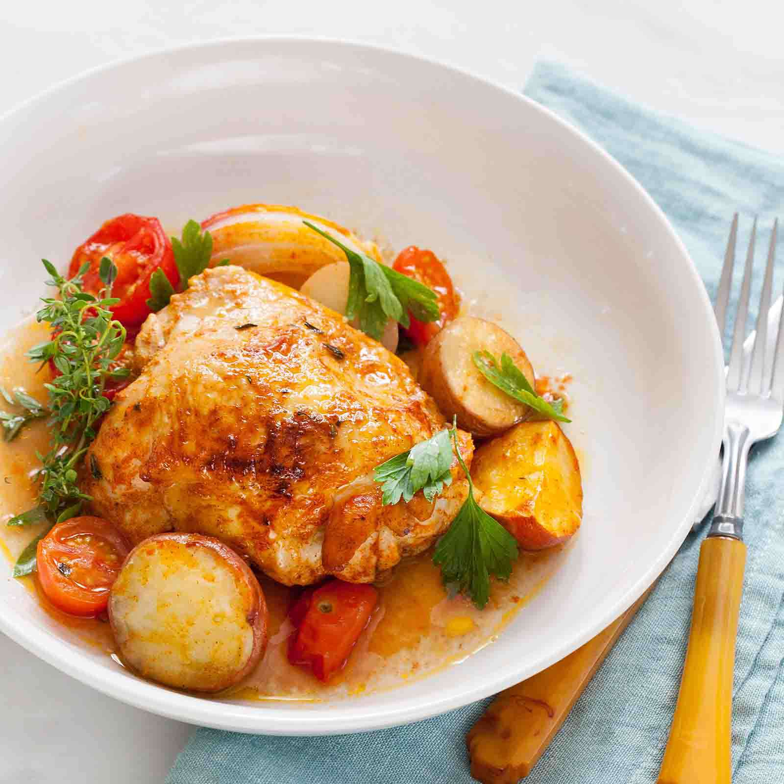 Paprika Chicken with Potatoes and Tomatoes