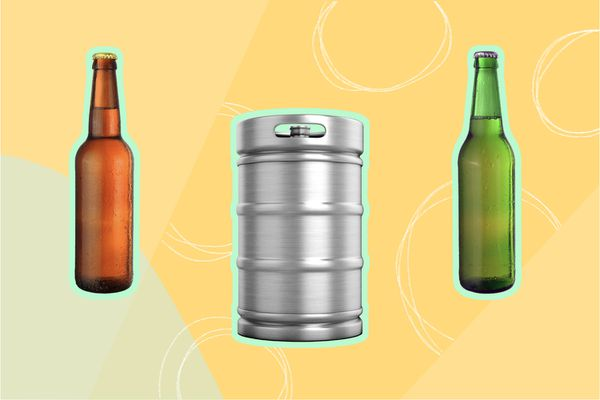 Photo composite of two unlabeled beer bottles and a keg