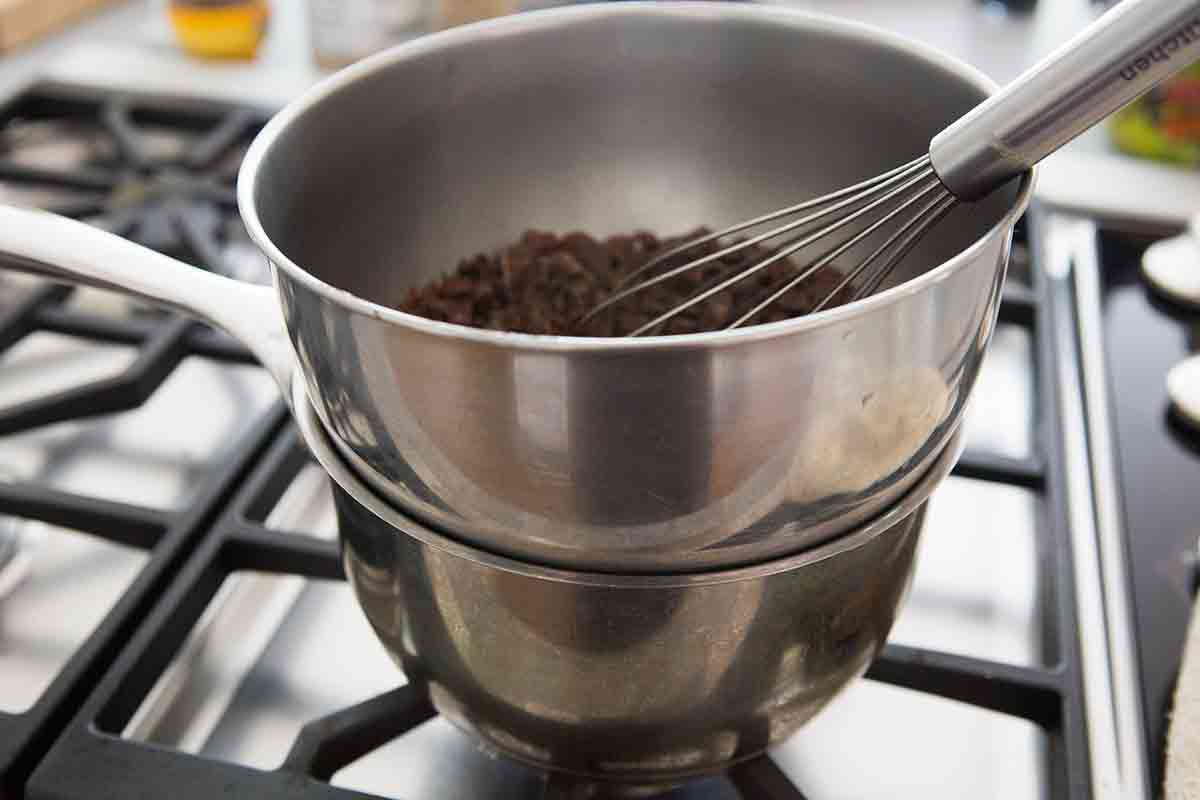 create a double boiler for melting the chocolate