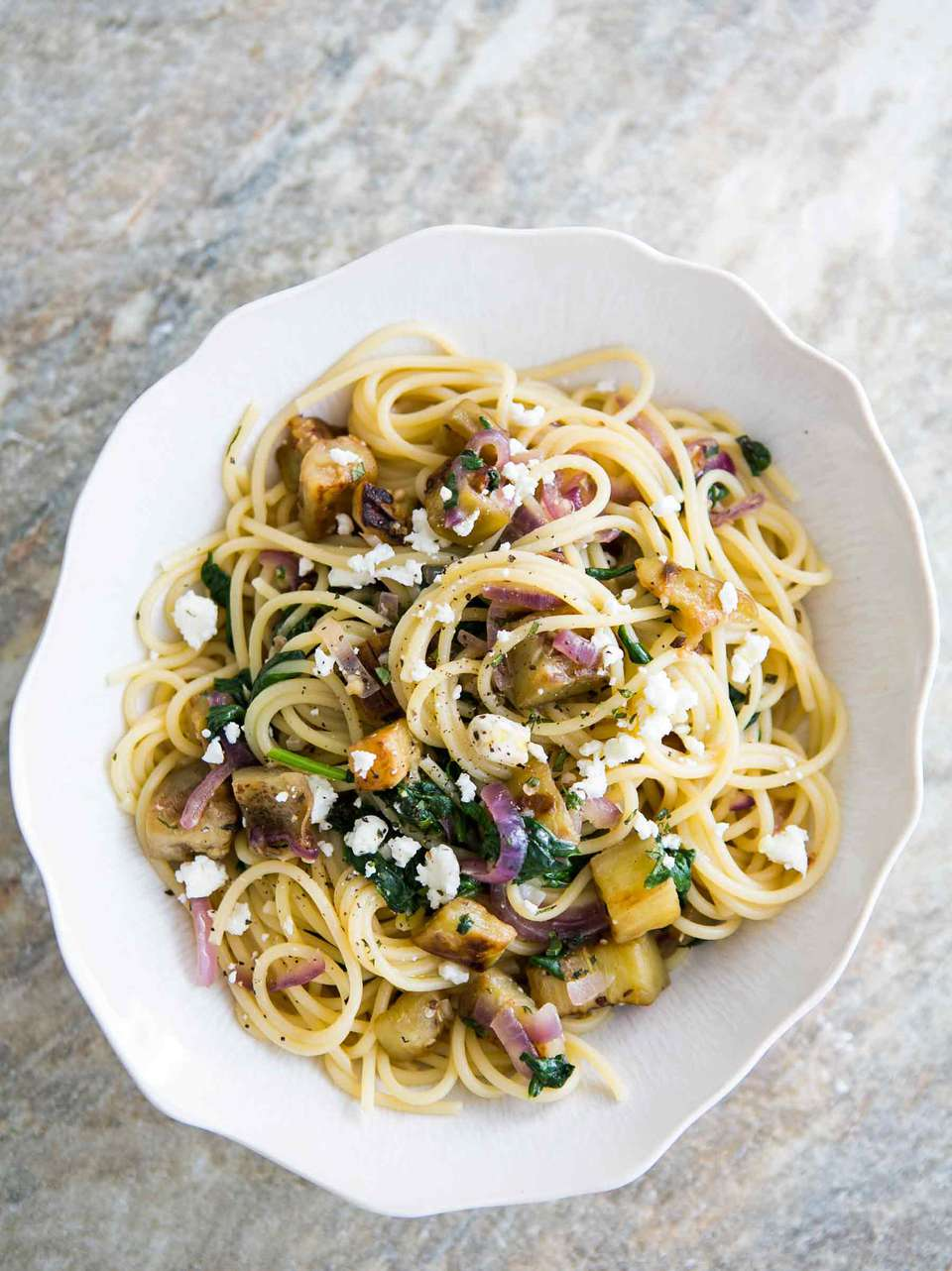Pasta with Eggplant, Feta, & Mint