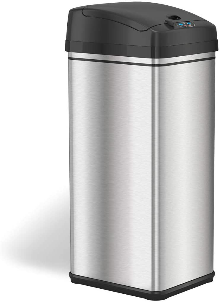 iTouchless 13 Gallon Stainless Steel Automatic Trash Can with Odor