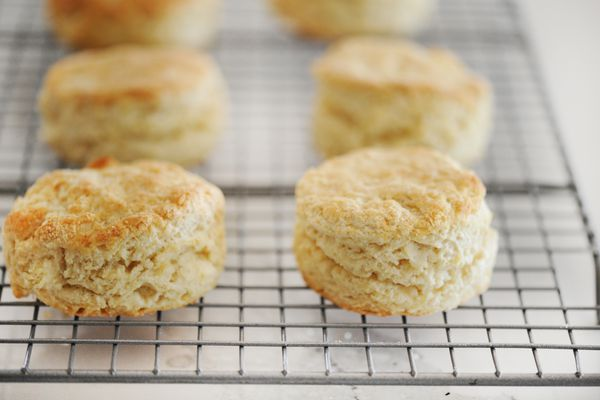 Authentic English Scones cooling on a rack.