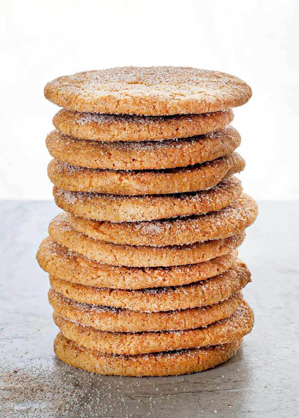 stack of brown sugar snickerdoodle cookies