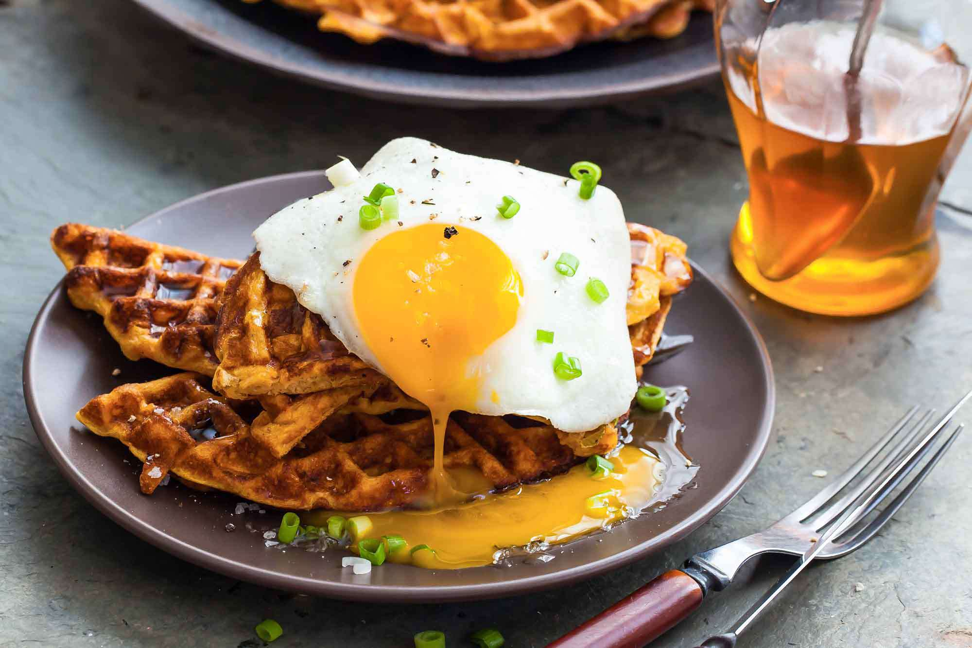 Sweet Potato Waffles with Bacon, Scallions and Fried Eggs