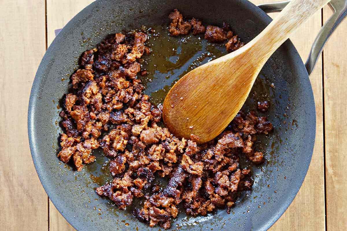 Breakfast Taco Recipe with Chorizo and Eggs cook the chorizo
