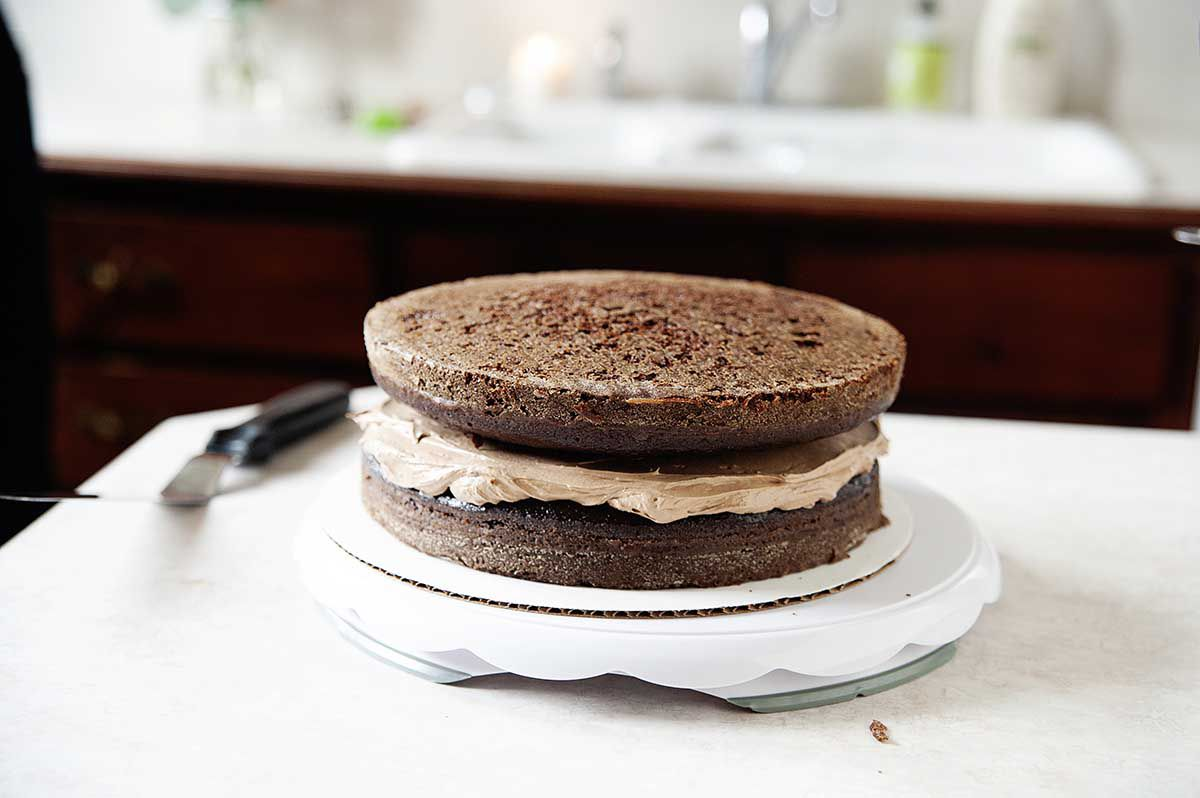 Chocolate Swiss Meringue Buttercream sandwiched between two layers of homemade chocolate cake