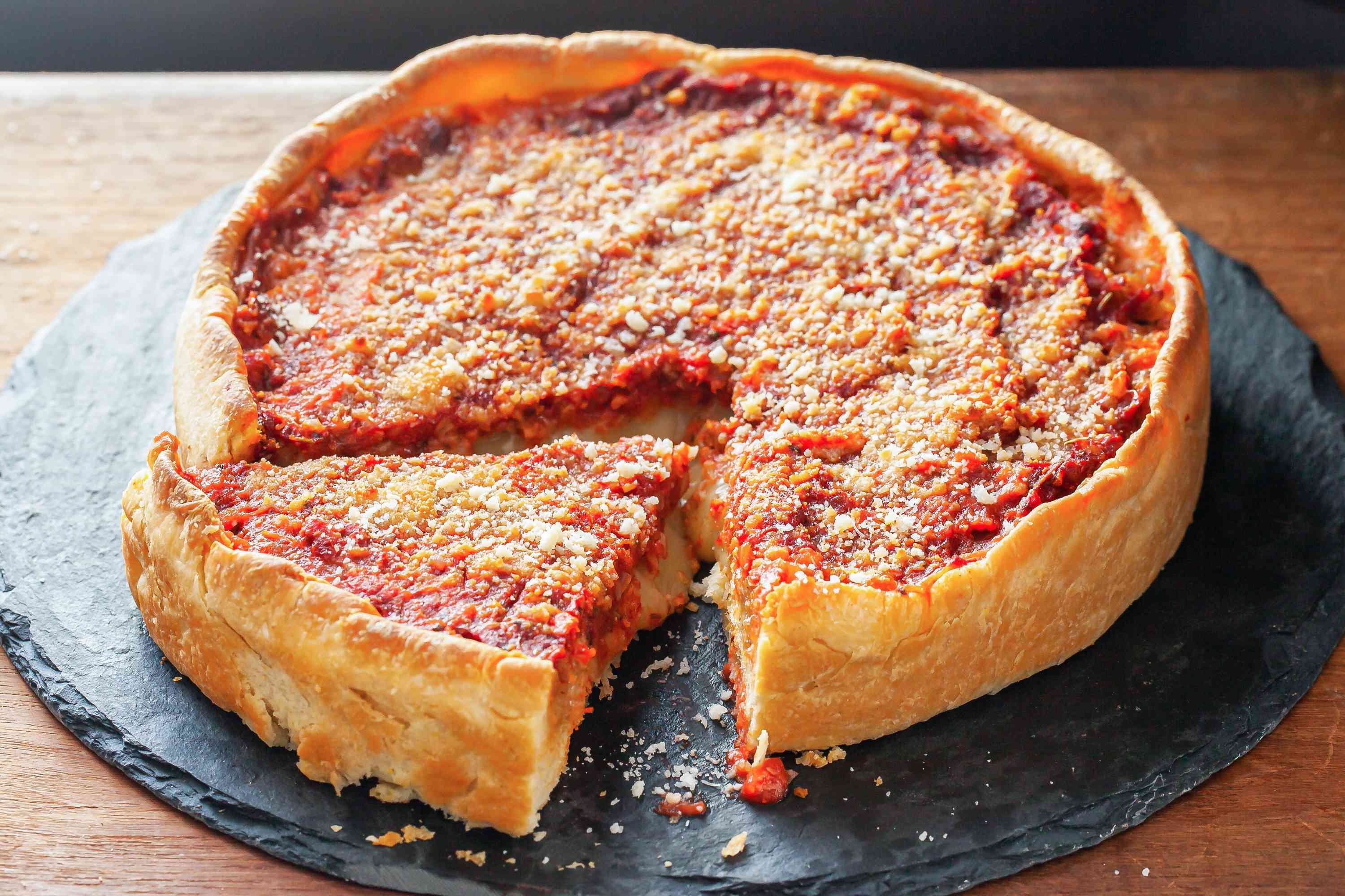Homemade Chicago-Style Deep Dish Pizza
