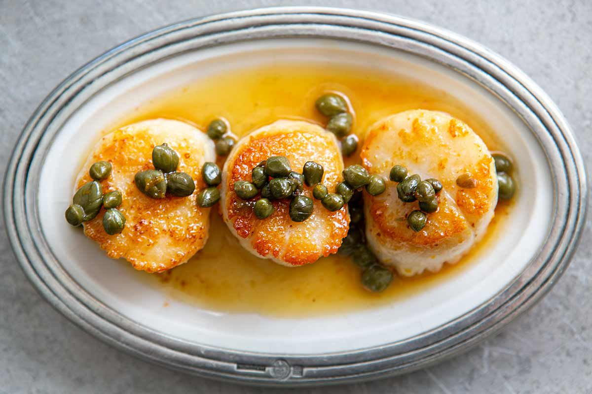 seared scallops brown butter caper sauce