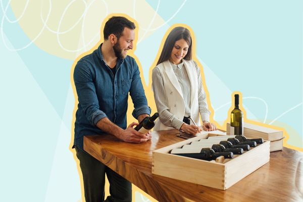Photo composite of a man and woman writing as they look at wine bottles.