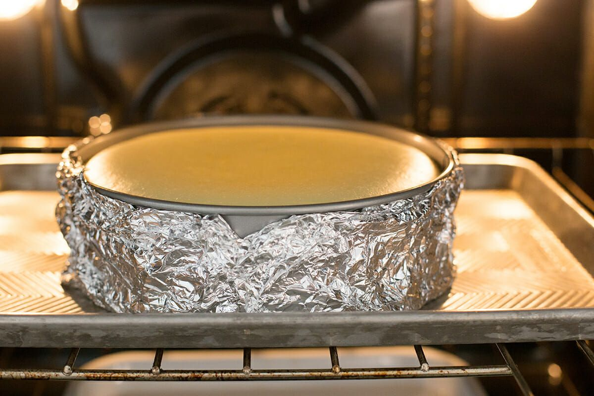 Cheesecake Recipe with Lemon - foil wrapped springform pan with cheesecake