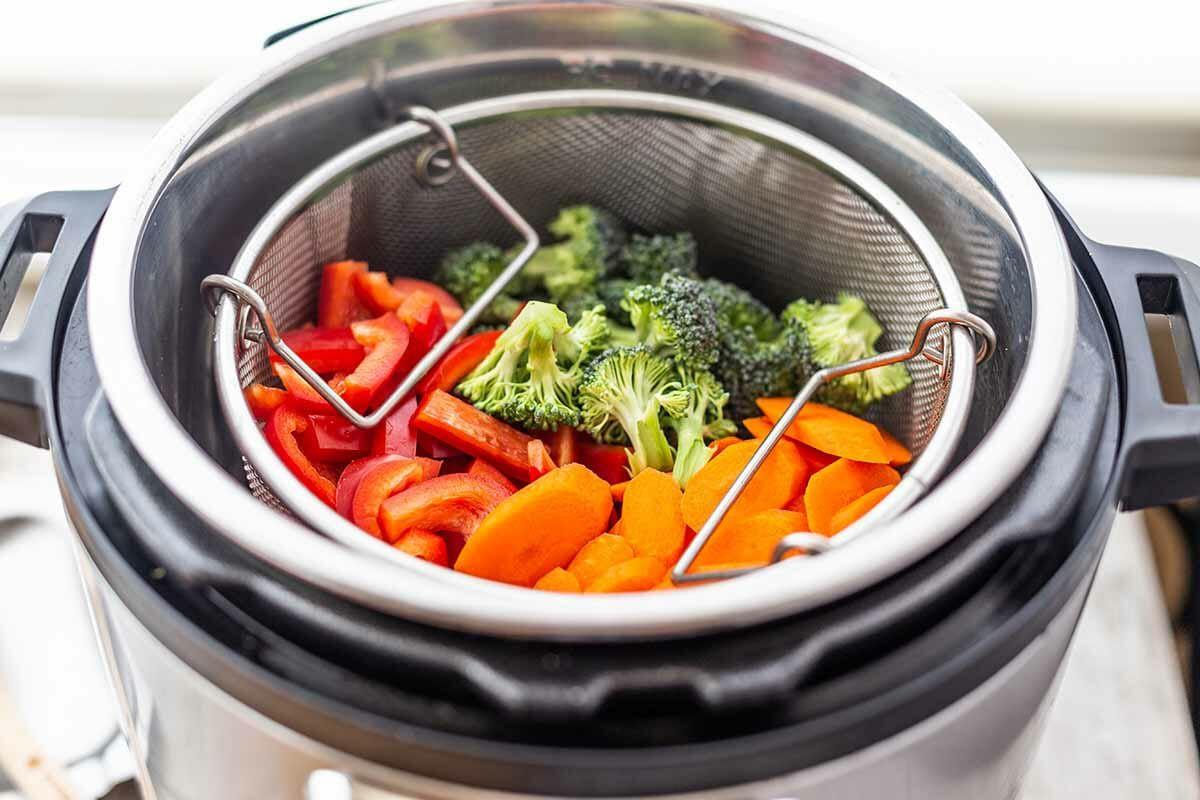 Instant Pot Pasta Primavera Recipe put the steamer basket in the pot