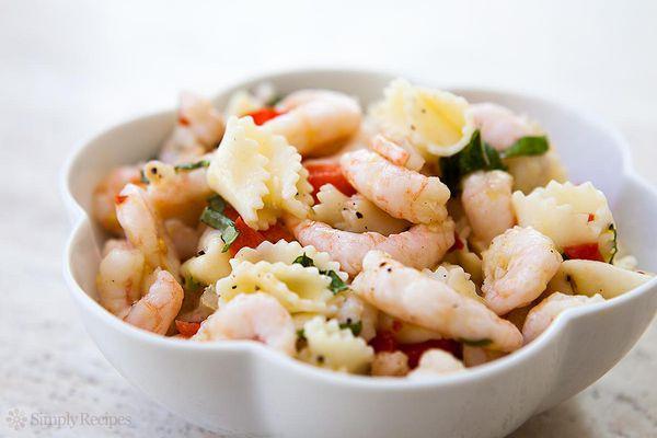 Shrimp Pasta Salad in bowl