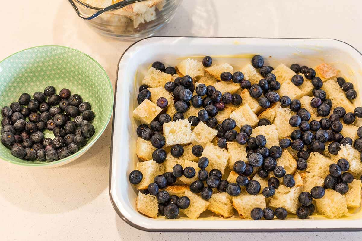 Baked French Toast with Blueberries add the blueberries