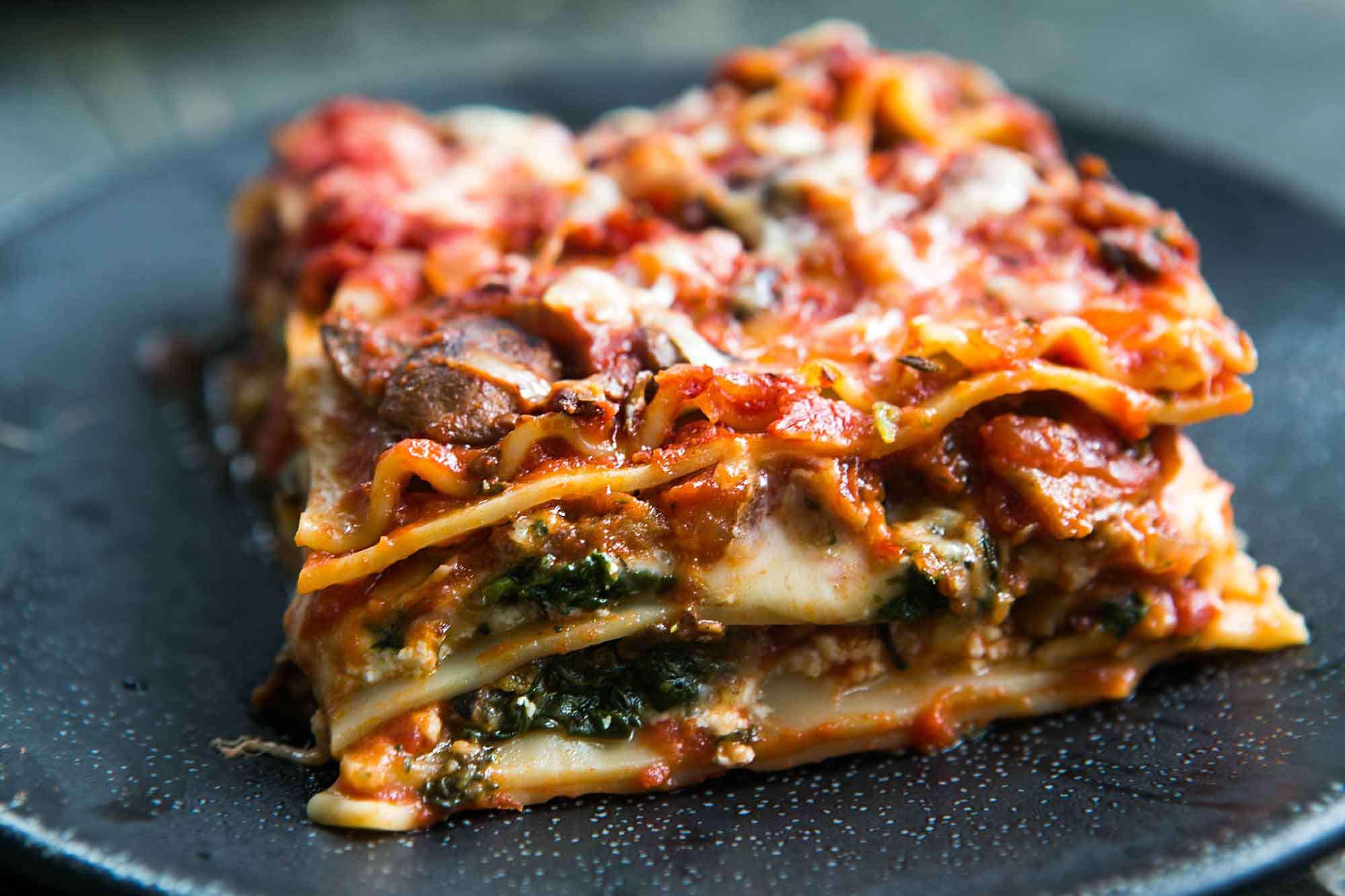 Vegetarian Spinach Mushroom Lasagna