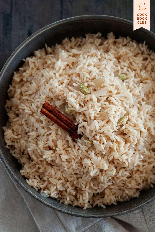Zanzibar Pilau from Hawa Hassan with Julia Turshen in a bowl with a cinnamon stick.