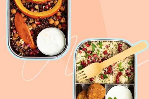 Photo composite of ready to eat meals in travel containers