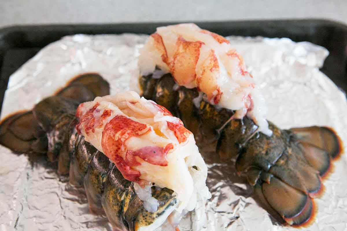 Lobster Tail Meat with Shell on Tin Foil
