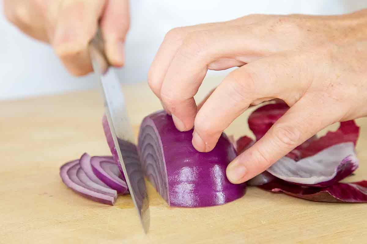 slice onions crosswise