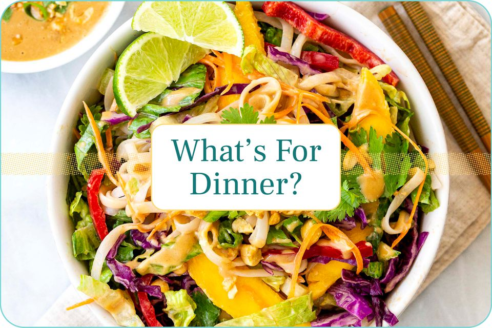 """""""What's For Dinner?"""" with a plate Thai Noodle Salad with Peanut Sauce."""