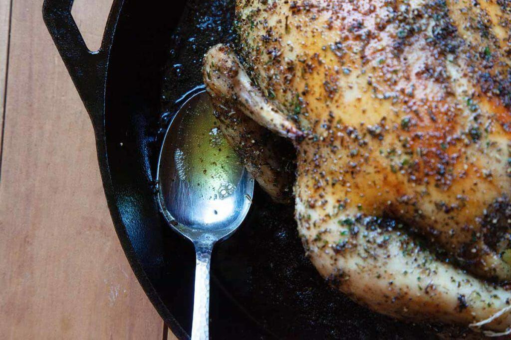 Basting a Mediterranean Roast Chicken