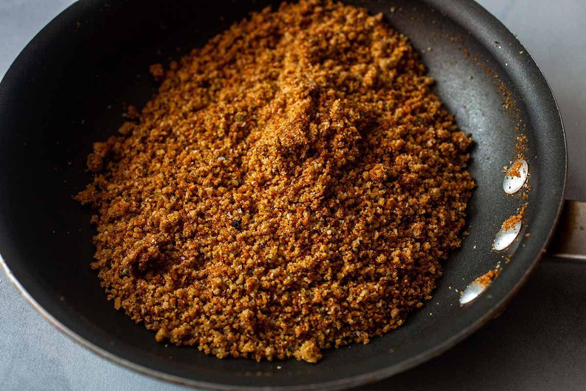 Chicken Piccata Recipe with Pasta make the breadcrumbs