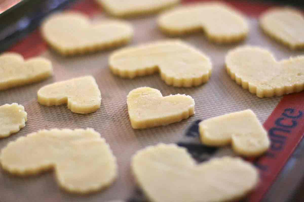 arrange butter cookie cutouts on baking pan