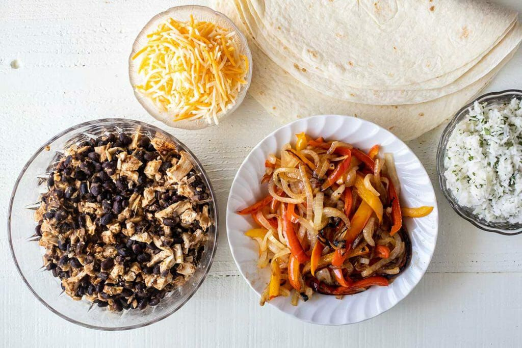 ingredients for chicken freezer burritos