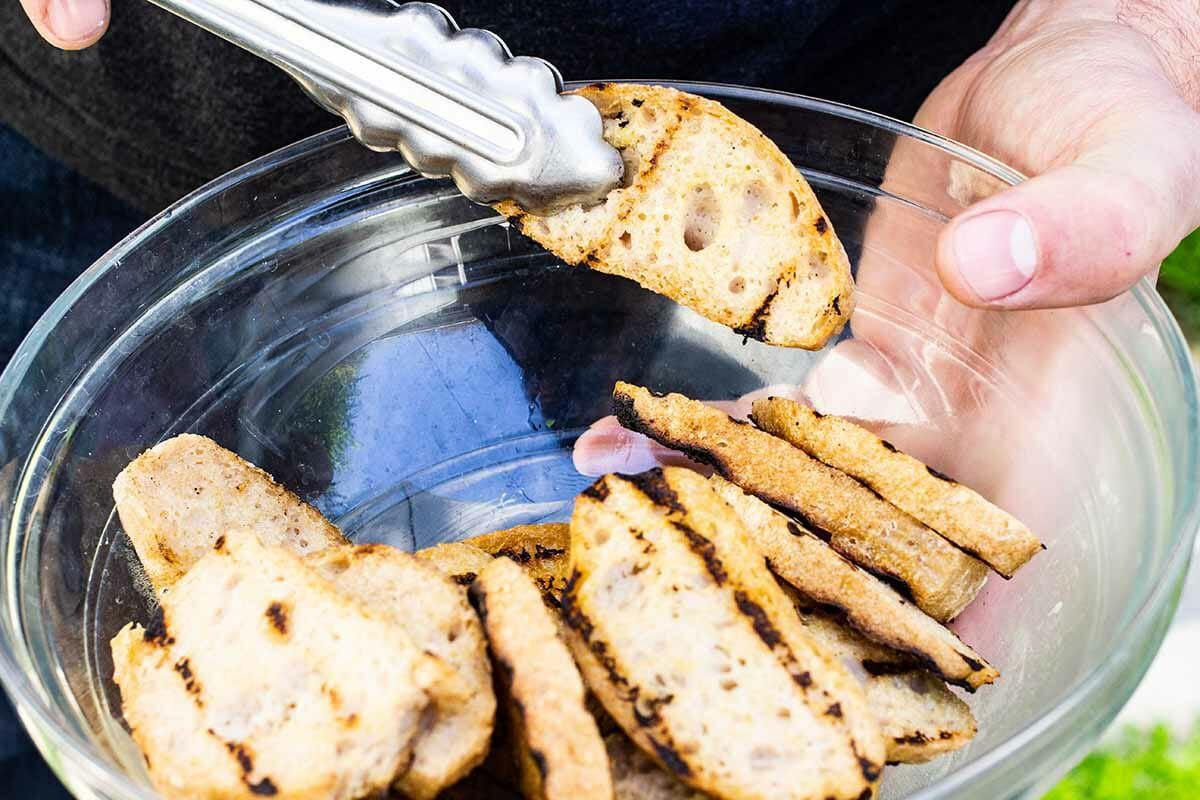 Chicken Caesar Salad Recipe set the bread aside