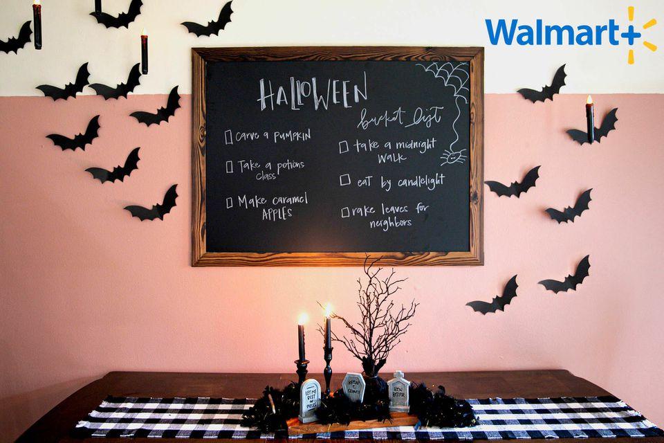 black bats pink wall halloween