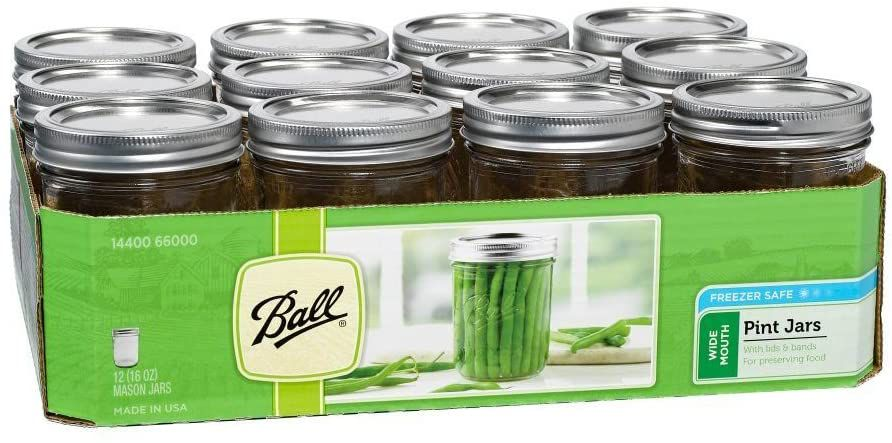 Ball Wide-Mouth Pint 16-Ounce Glass Mason Jar With Lids and Bands, 12-Count