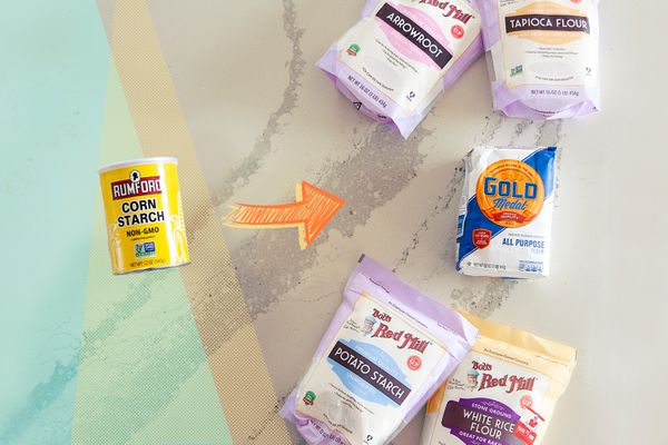 5 Cornstarch Substitutes on a colorful background.